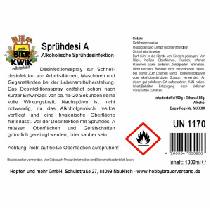 Bier-Kwik® - Sprühdesi A - Alkoholische Sprühdesinfektion inkl. Sprühkopf
