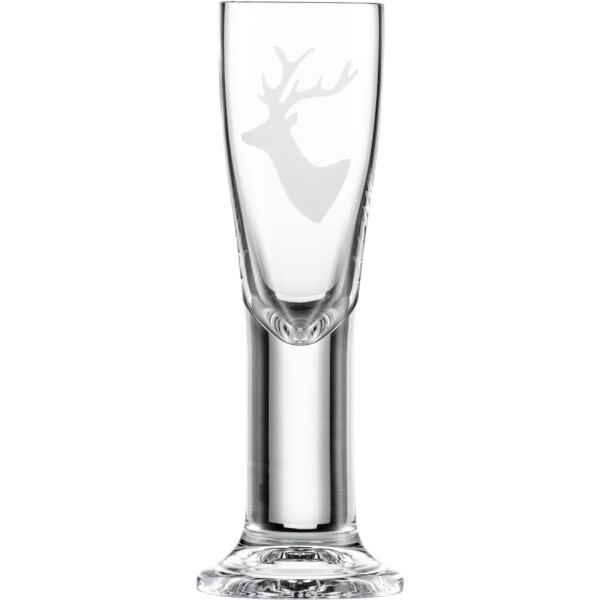 Destillate glass Chalet deer motif