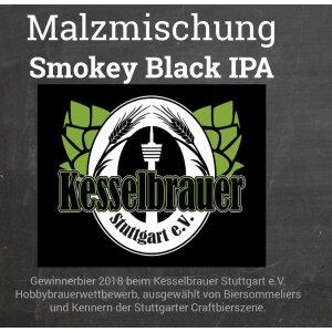 Malzmischung Smokey Black IPA - Geschrotet