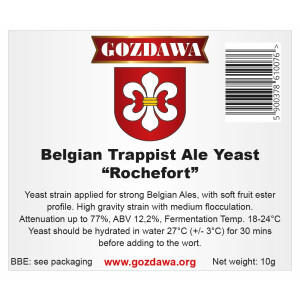 GOZDAWA Belgian Trappist Ale Yeast Rochefort (BTAY) - top...