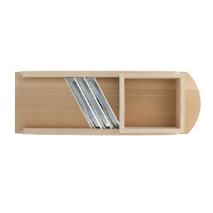 Cabbage slicer, rounded edges, 3 blades and wooden drawer...