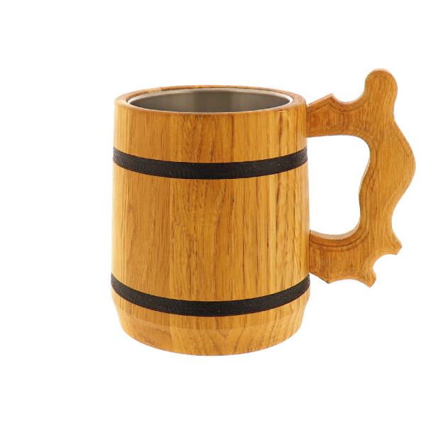 Holz-Bierkrug mit Edelstahleinsatz aus Eiche