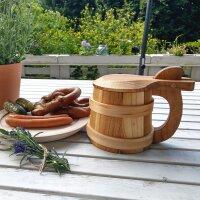 Bierhumpen Wikinger mit Deckel aus Kirschholz